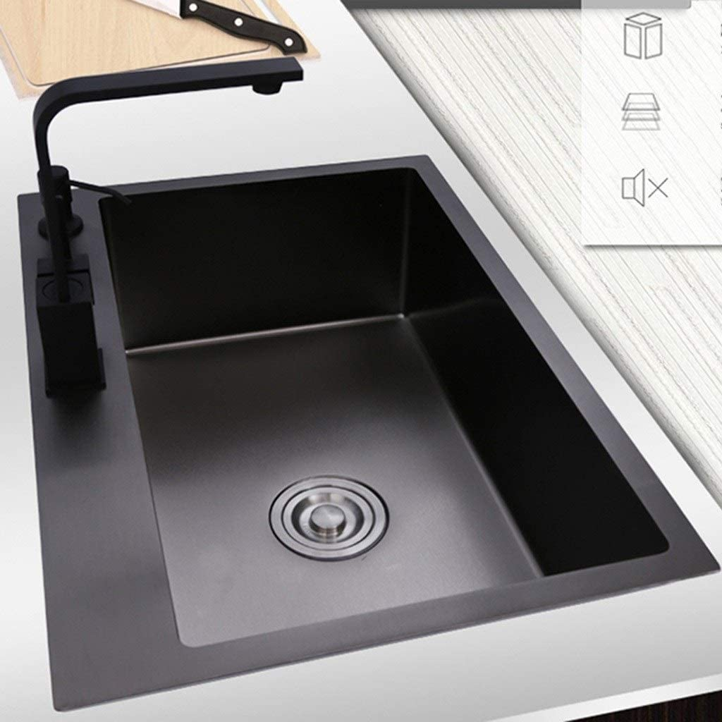 Color : Black, Size : 55 * 45 * 22cm Kitchen Sinks Kitchen Sinks Black Cafe Wash Cup Pool Household Single Slot Sink Easy to Clean Home Good Helper Gift