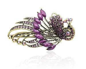 Buankoxy Women's Vintage Crystal Peacock Hair Clip Head Wear- For Hair Clip Beauty Tools (Purple)