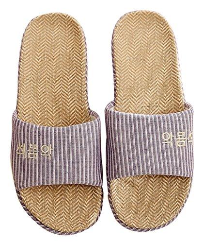 Blubi Donna Estate Strisce Pantofole Casa Di Lino Comode Pantofole Da Donna Pantofole Aperte Punta Viola