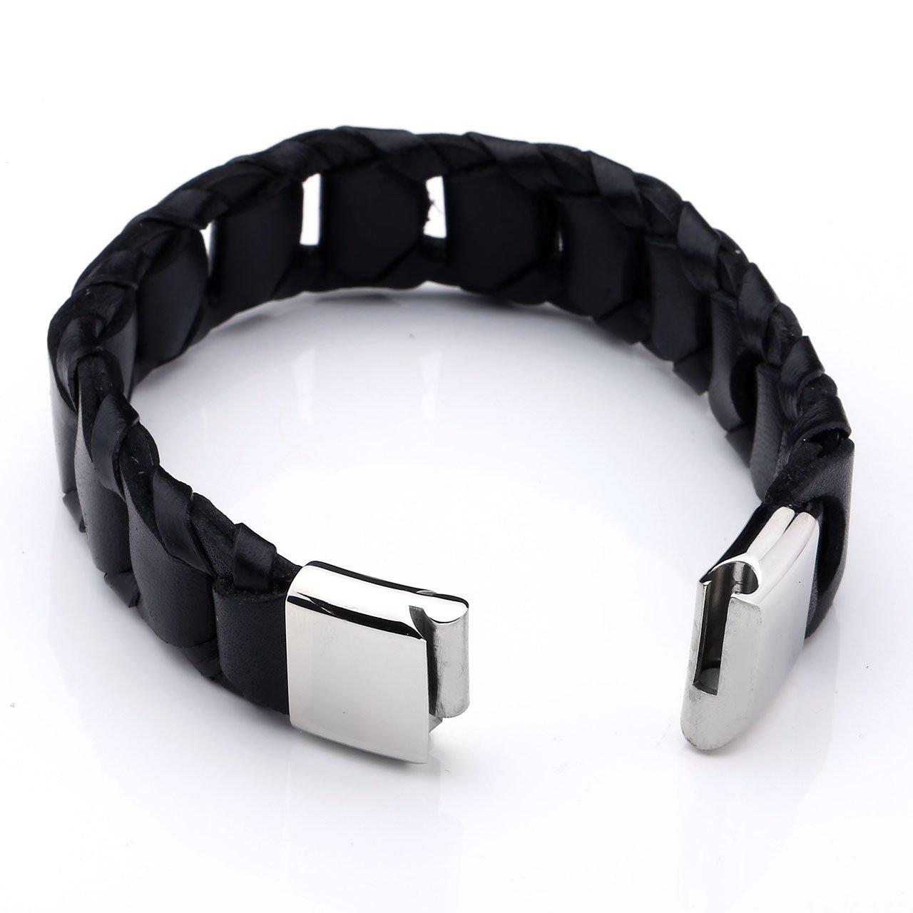 PiercingJ - Bijoux Bracelet Leather Cuir Veritable Large Tresse Coupe Croise avec Fermoir Acier Inoxydable Lien Poignet Manchette Biker Motard Chaine de Main Femme Homme - Noir