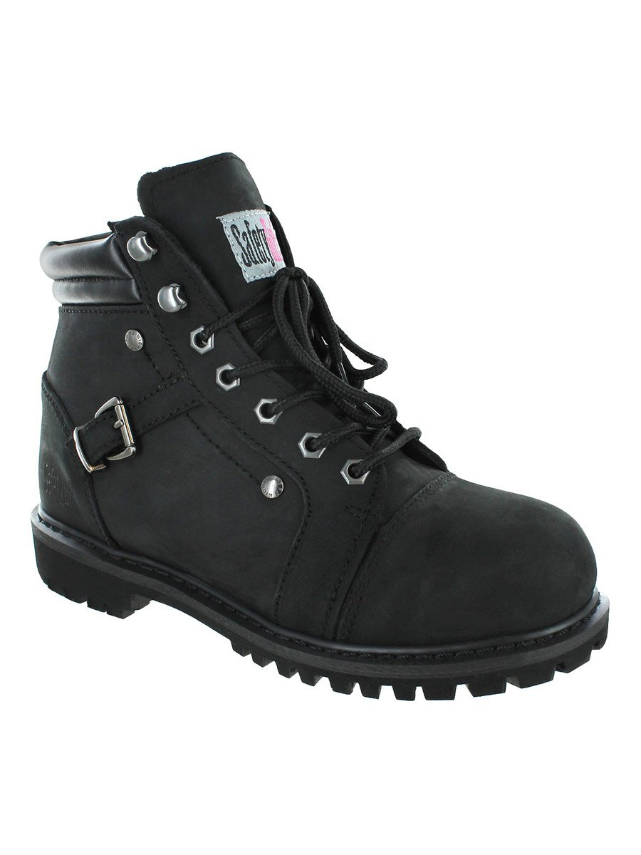 Safety Girl GS007-BLK-8.5M Safety Girl Fusion Work Boot -Black Steel Toe 8.5M, English, Capacity, Volume, Leather, 8.5M, Black ()