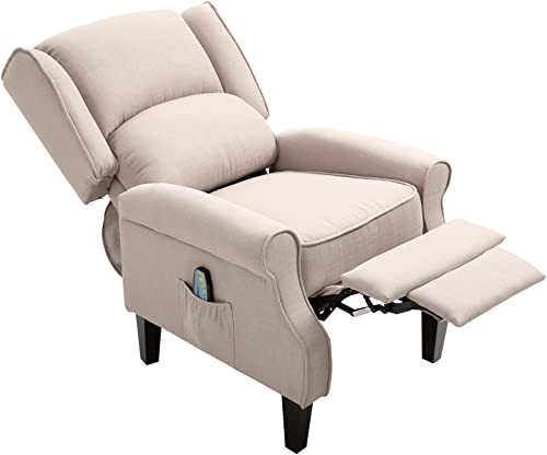 HOMCOM Wingback Heated Vibrating Accent Sofa Vintage Linen Fabric Massage Recliner Chair Push-Back - a good cheap living room chair