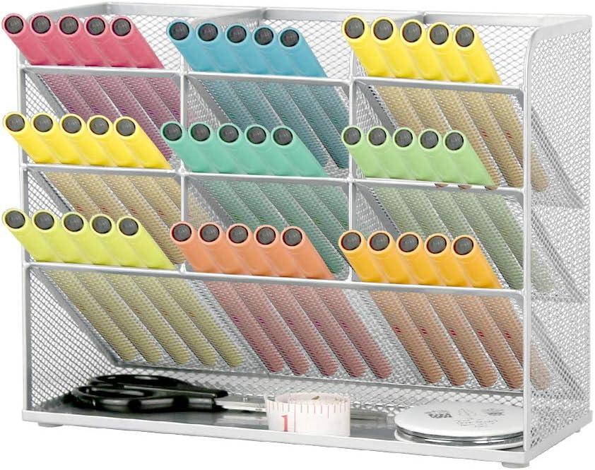 Whiidoom Mesh Desk Organizer, Large Capacity Storage Pen Holder Home Office Desktop Organiser for Art Supplies (Silver)