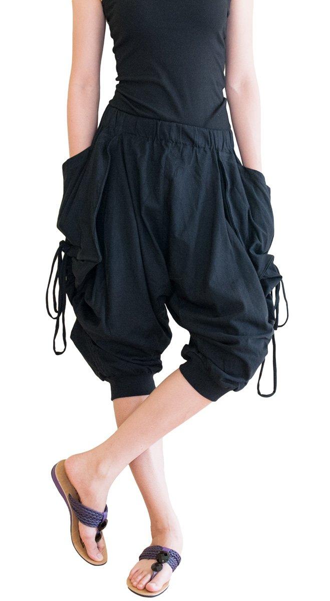 BohoHill Capri Harem Dropcrotch Pants Cotton Stylish Side Drawstring (Black)