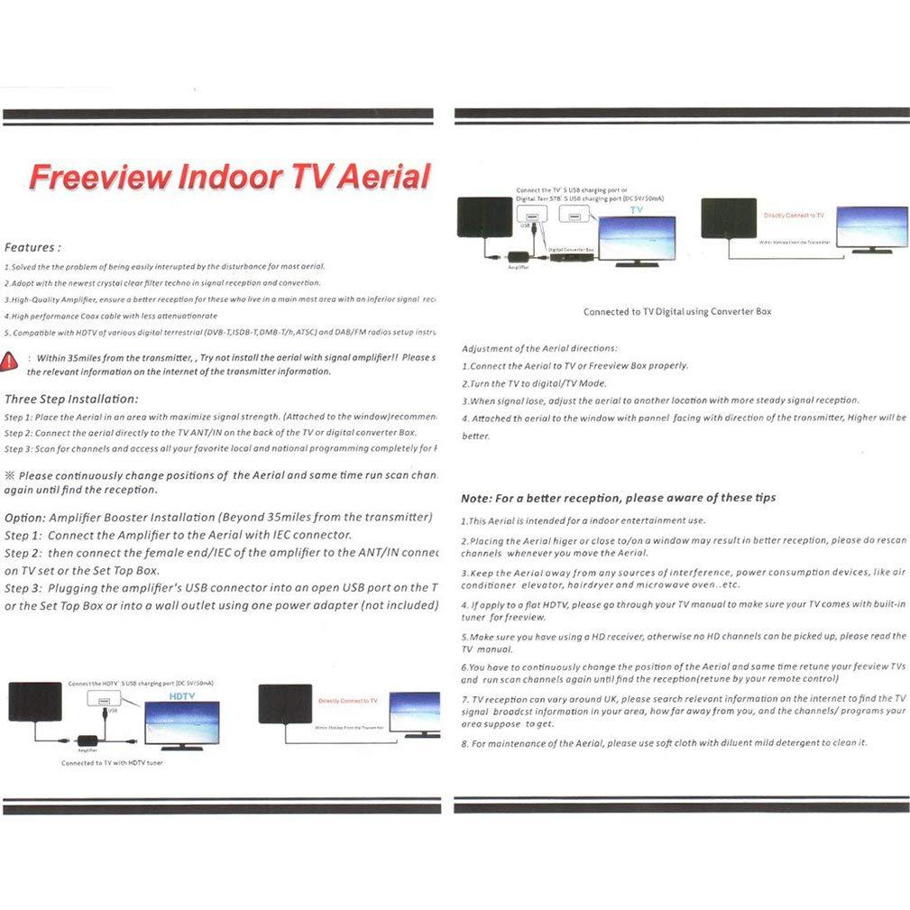 Jelinda Antena TV Interior, Antena TDT con Amplificador de ...