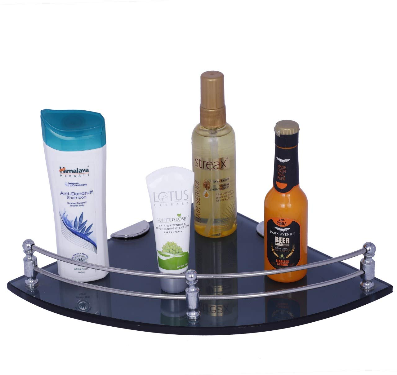 Primax Multi-Purpose Glass Corner Shelf - 12 x 12 Inches -with Nano Wall Brackets (Black)