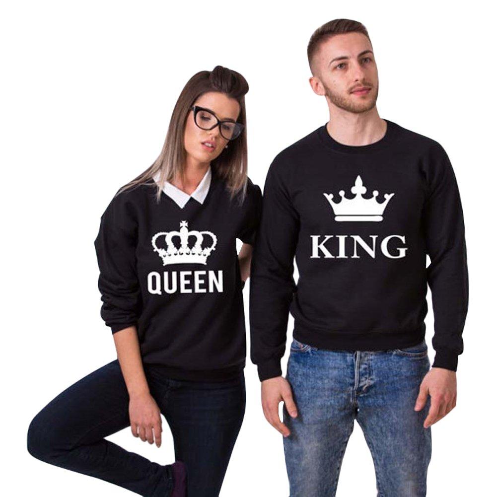 4083b8aac1aa Minetom Hombre Mujer Impreso Parejas Tops King Queen Corona Impresión  Sudaderas Casual Manga Larga Blusa Jersey Camisa De Entrenamiento Pullover
