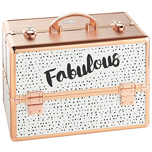 Beautify Large Rose Gold Spotted 'Fabulous' Makeup Cosmetic Organizer Train Case 14' Professional Aluminum Storage Box with Dividers and Lock