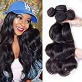 Junbeauty Hair Brazilian Virgin Hair Body Wave 4 Bundles 100% Unprocessed Virgin Brazilian Body Wave Hair Human Hair Weave Natural Black Color (12 14 16 18) Review