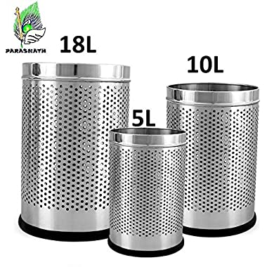 """Parasnath Stainless Steel Perforated Open Dustbin/Stainless Steel Garbage Bin/Small, Medium and Large/ - 6 Litre (7""""x10"""") + 10 Litre (8'' X 12'') + 18 Litre (10'' X 14'')- Set of 3 Pcs 7"""