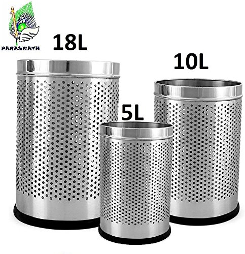 """Parasnath Stainless Steel Perforated Open Dustbin/Stainless Steel Garbage Bin/Small, Medium and Large/ - 6 Litre (7""""x10"""") + 10 Litre (8'' X 12'') + 18 Litre (10'' X 14'')- Set of 3 Pcs 1"""