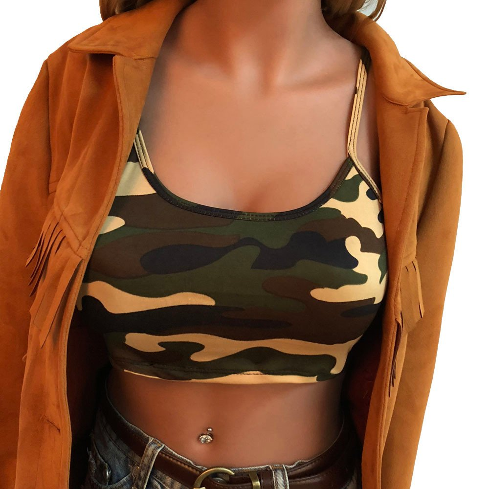Suma-ma Womens Camouflage Printed Sleeveless Tank Tops Sports Bustier Bra Vest Crop Top Strap Blouse T-Shirt (Green,S)