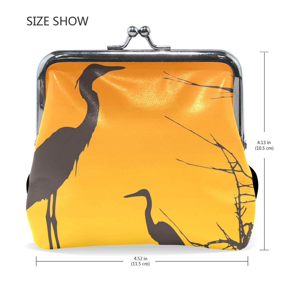 LALATOP Two Herons Resting Womens Coin Pouch Purse wallet Card Holder Clutch Handbag