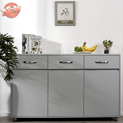 Amazon Com Aooppec Upgraded Thicken Sideboard Buffet Storage Cabinet Three Doors Side Cabinet For Entryway Cupboard With 2 Cabinets 3 Drawers Shelves For Home Office Kitchen Dining Room Grey