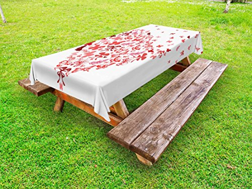 Lunarable Love Outdoor Tablecloth, Butterfly Heart for Valentine's Day Anniversary Illustration Celebration Theme Artwork, Decorative Washable Picnic Table Cloth, 58 X 104 inches, Coral Ruby
