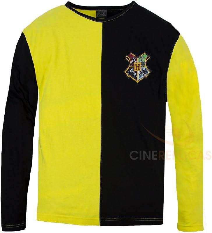 Cinereplicas - Harry Potter - T-Shirt - Estilo Torneo de los Tres Magos y Quidditch - T-Shirt Cedric Diggory - Licencia Oficial - M - Amarillo y Rojo