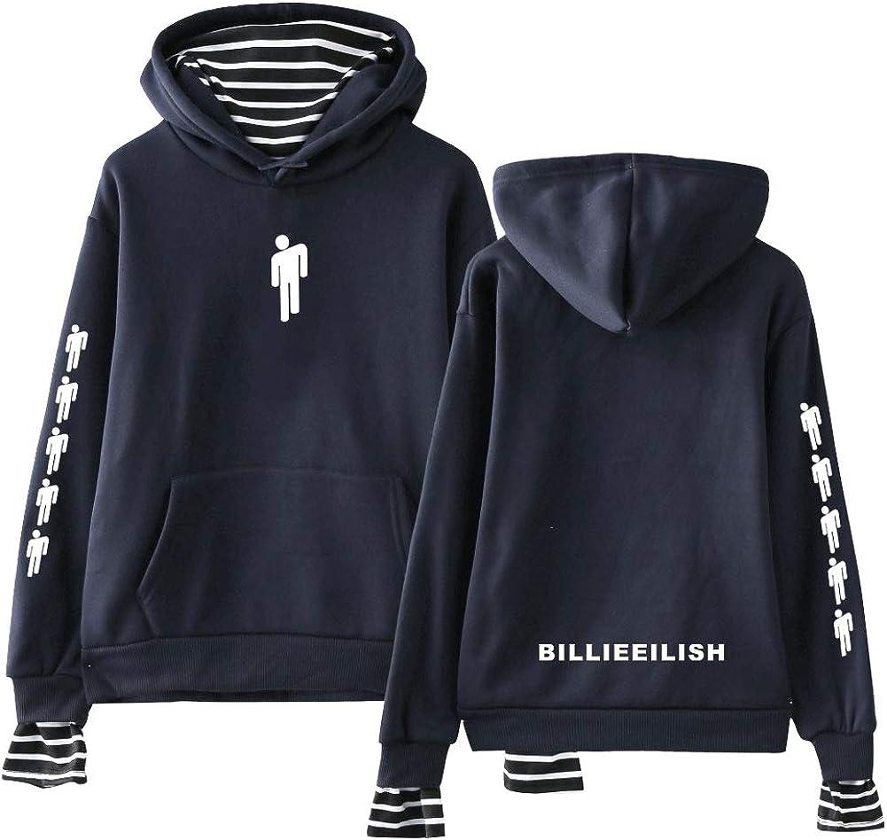 Aibayleef Billie Eilish Felpa Unisex con Cappuccio e Tasche Pullover 2 in 1 Patchwork Maglia Manica Lunga a Righe T Shirt Camica Top Casual