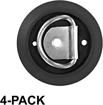 12 Pack Surface Tiedowns D-Ring 1,200 lb One-Hole Tie Down Anchors