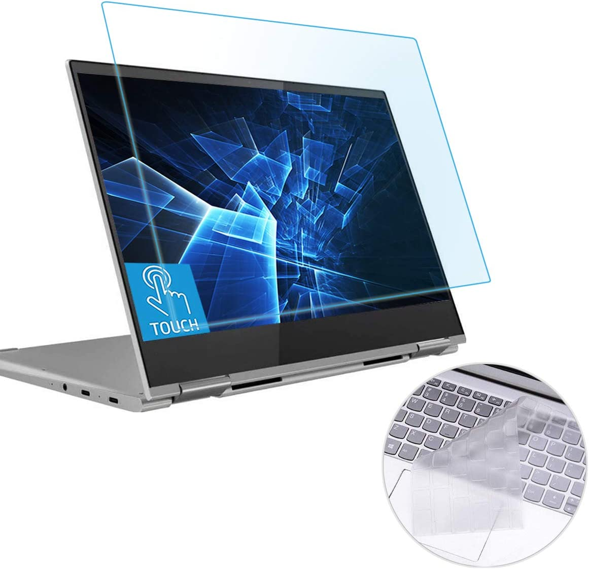 "MUBUY Anti Blue Light Glare Screen Protector Fit Lenovo Yoga C740 14"" Touchscreen & Keyboard Cover Ultra Thin TPU, Eyes Protection Filter Reduces Eye Strain Help You Sleep Better, Anti Fingerprint"