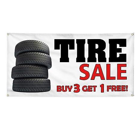 Buy 3 Get 1 Free Tires >> Amazon Com Vinyl Banner Sign Tire Sale Buy 3 Get 1 Free