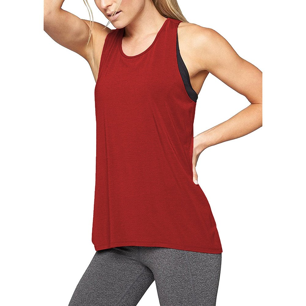 Zalanala Women's Cross Back Yoga Shirt Sleeveless Racerback Workout Active Tank Tops (L, Wine Red)