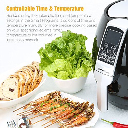 SimpleTaste 1400W Multi-function Electric Air Fryer with Rapid Air Circulation Technology, Smart Programs with Automatic and Manual Timer & Temperature Controls, 3.2 QT by SimpleTaste (Image #2)