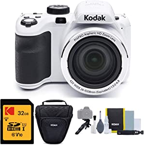 Kodak PIXPRO Astro Zoom AZ421 16MP Digital Camera (White) with Kodak 32GB SD Card and Focus DSLR Camera Accessory Bundle (3 Items)