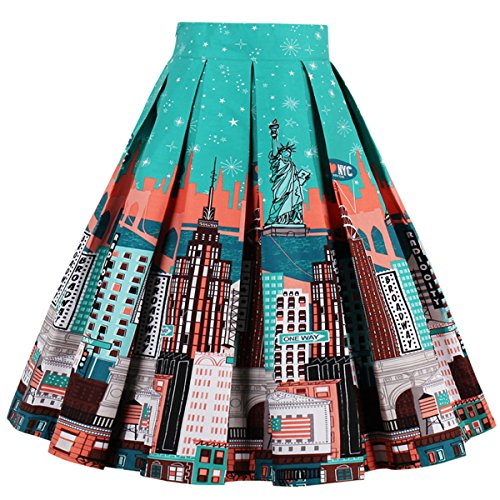Dressever Women's Vintage A-line Printed Pleated Flared Midi Skirts New-York X-Large - Full Skirt Dress