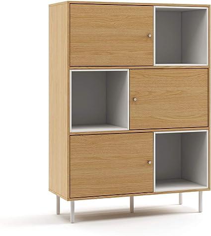 Mc Haus KUMA - Estanteria Madera Natural y Blanco, Librería de pared Salón Comedor Dormitorio de diseño Nórdico con 3 estantes para almacenaje y 3 ...
