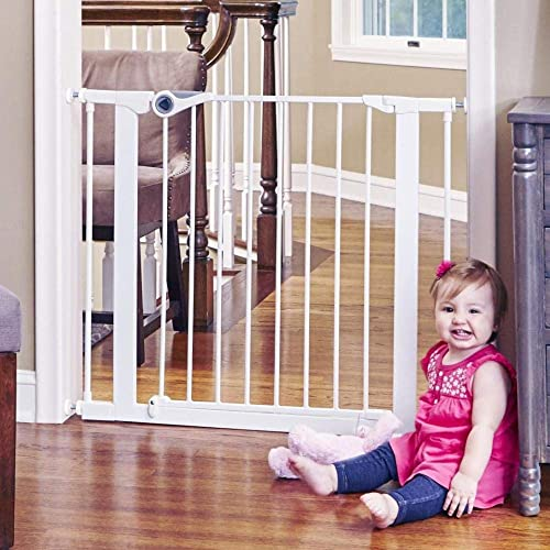 Toddleroo by North States 38.1 Wide Essential Walk Thru Gate Ideal for securing hallways or doorways. Extra Wide Doorway Baby Gate. Pressure Mount. Fits 29.8 -38.1 Wide 30 Tall, White