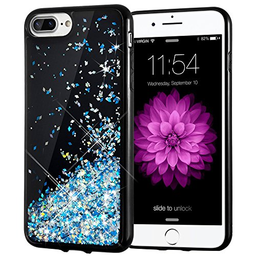 iPhone 7 Plus Case, Caka [Starry Night Series] Bling Flowing Floating Luxury Liquid Sparkle TPU Bumper Glitter Case for iPhone 6 Plus/6S Plus/7 Plus/8 Plus (5.5 inch) - (Blue)