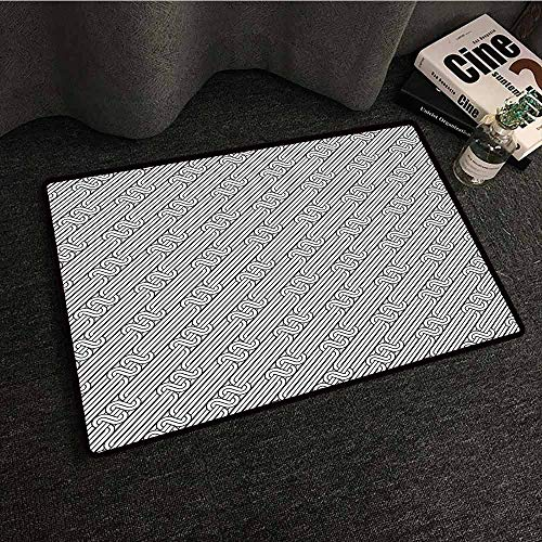 DILITECK Modern Door mat Abstract Monochrome Classic Curved Line Bands with Diagonal Swirls Optic Effects Graphic Anti-Fading W20 xL31 Black White