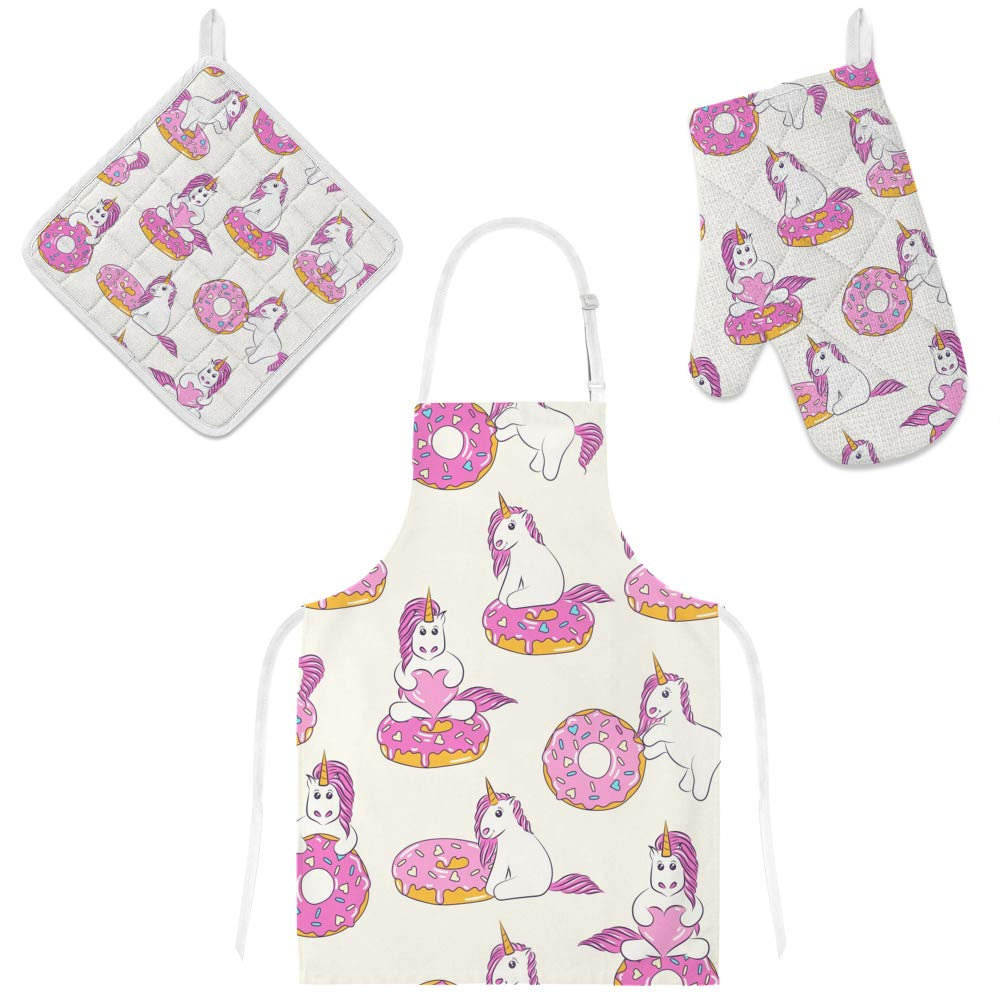 Top Carpenter Polyester Kitchen Oven Mitts Glove Potholder Apron 3Pcs Set Pink Unicorn and Doughnut Non Slip Heat Resistant Mitts for Baking Cooking BBQ