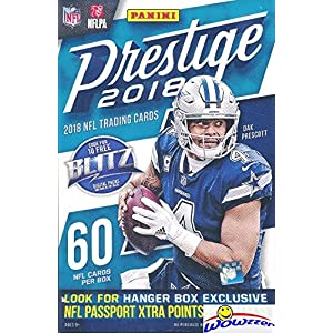 2018 Panini Prestige NFL Football HUGE Factory Sealed HANGER Box with 64 Cards & EXCLUSIVE PARALLELS! Look for Rookies & Auto's of Baker Mayfield, Josh Allen, Saquon Barkley & Many More! WOWZZER!