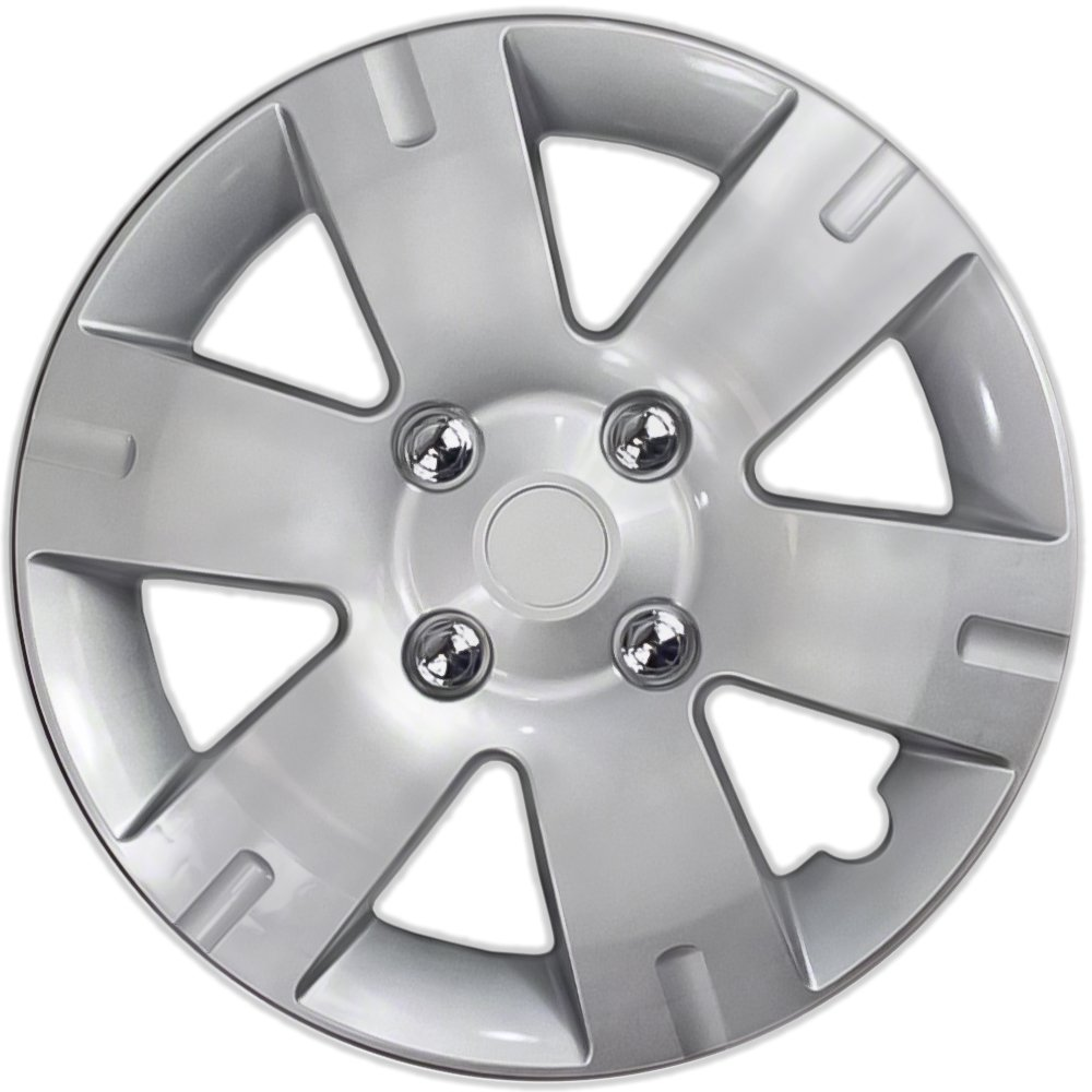 Wheel Covers 15in Hub Caps Silver Rim Cover - Car Accessories for 15 inch Wheels - Snap On Hubcap, Auto Tire Replacement Exterior Cap 15 inch Hubcaps Best for 2007-2012 Nissan Sentra Set of 4