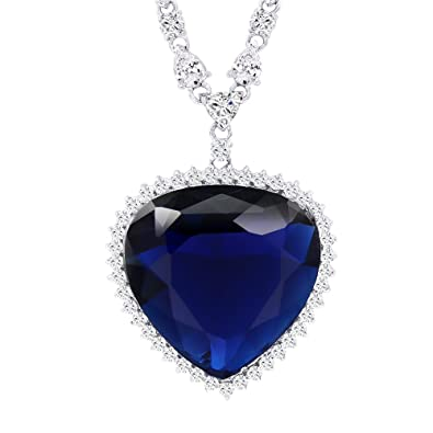 Xuping Fashion Ocean Blue Big Heart Synthetic Cubic Zirconia Gold Plated Alloy Pendant Necklace for Women Boxing Day Week z22DmOA