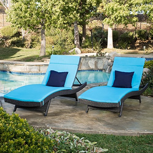 Olivia Outdoor Grey Wicker Adjustable Chaise Lounge with Blue Cushion Set of 2