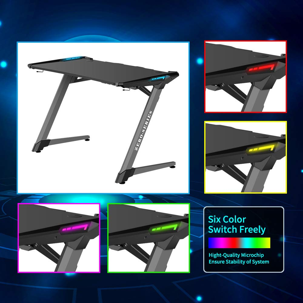 Kinsal Z-Shaped Gaming Desk Computer Desk Table with Fighting RGB LED Ambience Lighting and Large Size Mousepad, Racing Table E-Sports Durable Ergonomic Comfortable PC Desk (RGB Lights) by Kinsal (Image #4)