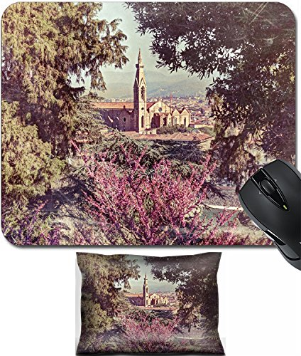 MSD Mouse Wrist Rest and Small Mousepad Set, 2pc Wrist Support design 26574239 view of the cathedral Santa Croce in Florence Tuscany Italy framed with green leaves and flowers image filtered to simula