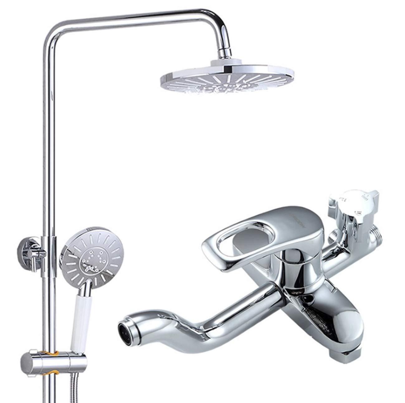 浴室のシャワーのミキサーは3モードの上のシャワーヘッド+ 3つの機能手持ち型のシャワー+ 360°の回転シャワーの蛇口が付いている浴室の壁に取り付けられたシャワーシステムで置きました   B07MSGTXCM