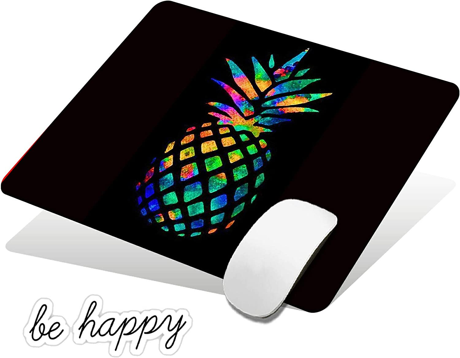 Mouse Pad Black Pineapple Gaming Mousepad Non-Slip Rubber Base Design Mouse Pads for Computers and Laptop,with Be Happy Computer Stickers