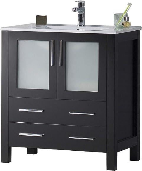 30 Inches All Wood Single Ceramic Sink Bathroom Vanity