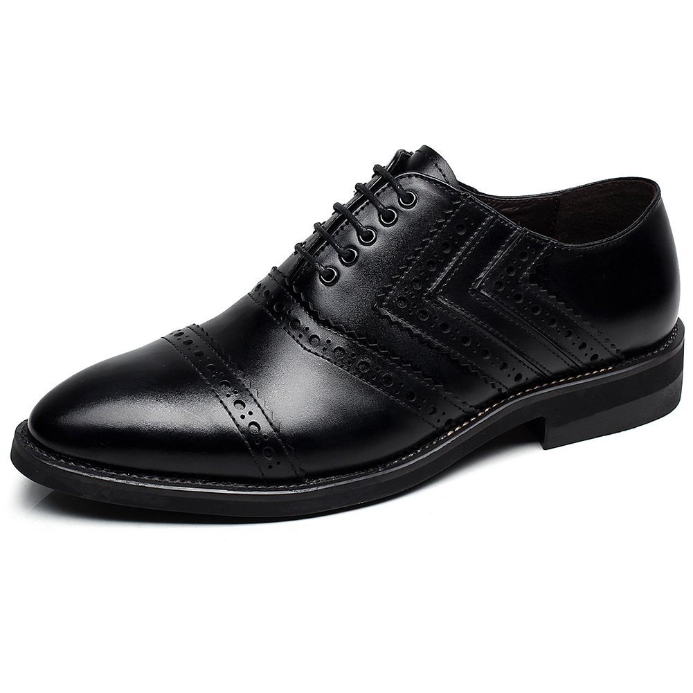 rismart Newly Men's Dress Leather Oxfords Shoes European Trendy Lace Up Brogues Black SN16899 US8.5