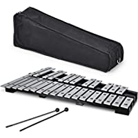 Giantex Foldable Glockenspiel Xylophone 30 Note, with Wood Base and 30 Metal Keys, 2 Rubber Mallets, Carrying Bag…