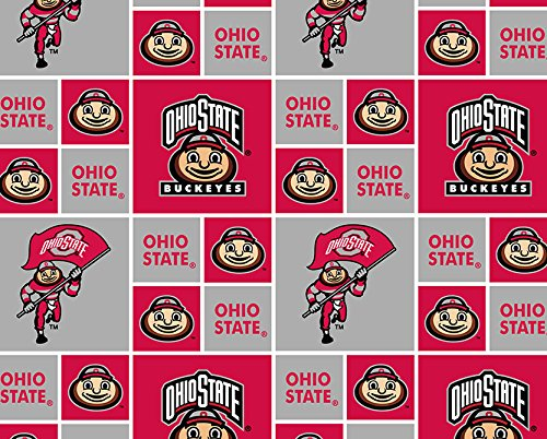 Cotton Ohio State University Buckeyes Brutus Squares College Cotton Fabric Print by the yard (sohs021s)