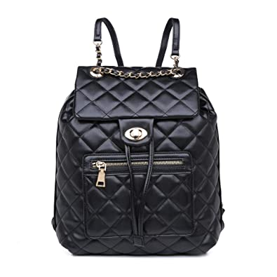 dbd80e9a0eb Amazon.com: Vegan Leather Backpack Purse for Women, Quilted Vegan ...