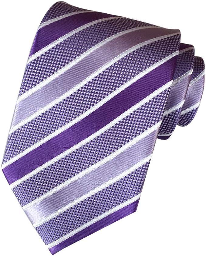MENDENG - Corbata de seda para hombre, diseño de rayas - Morado ...