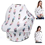 Nursing Cover for Breastfeeding Cover Ups Cotton Scarf Carseat Canopy Baby Car Seat Cover Summer for Boy Girl (Colorful Feather)
