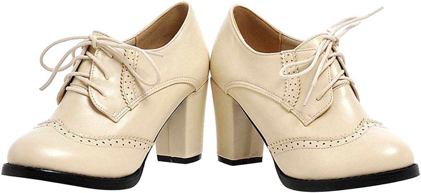 Details about  /Sweet Women Block Mid Heel Lace Up Brogue Oxfords Casual Shoes Pump Shoes US 7