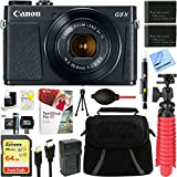 "Canon PowerShot G9 X Mark II 1"" 20.1MP 4x Zoom Black Digital Camera + Two-Pack NB-13L Spare Batteries + Accessory Bundle"